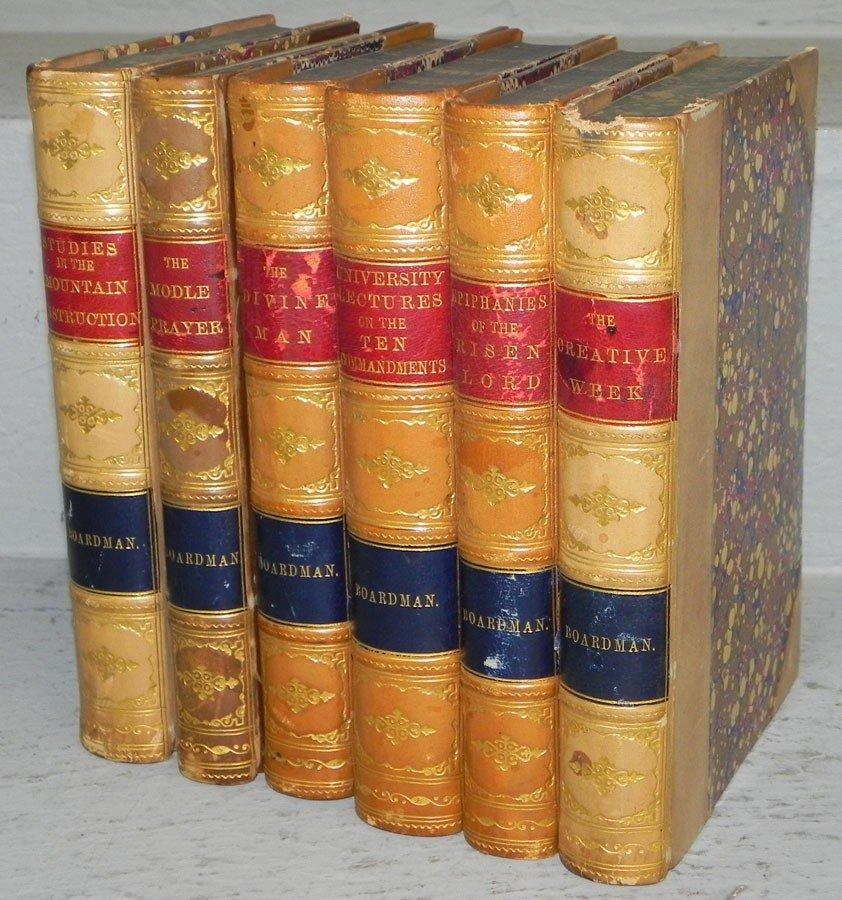 70: (6) leather bound books by Boardman. 1878.