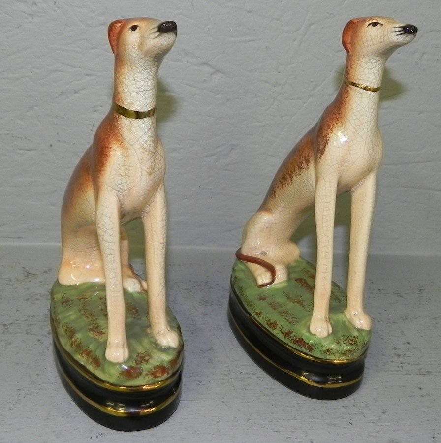 73: Pair of whippet decorator figurines.
