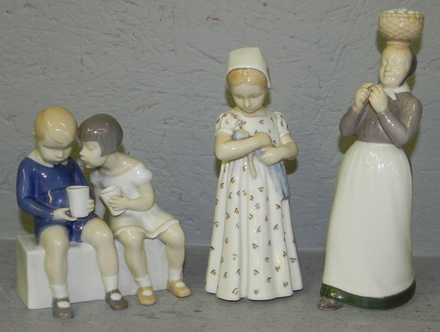 75: (3) Danish porcelain figurines.