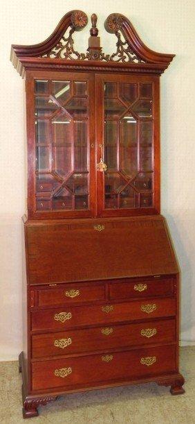 Contemporary Mahogany Glass Door Secretary