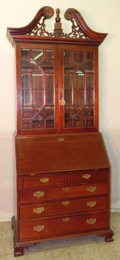 78: Contemporary mahogany glass door secretary