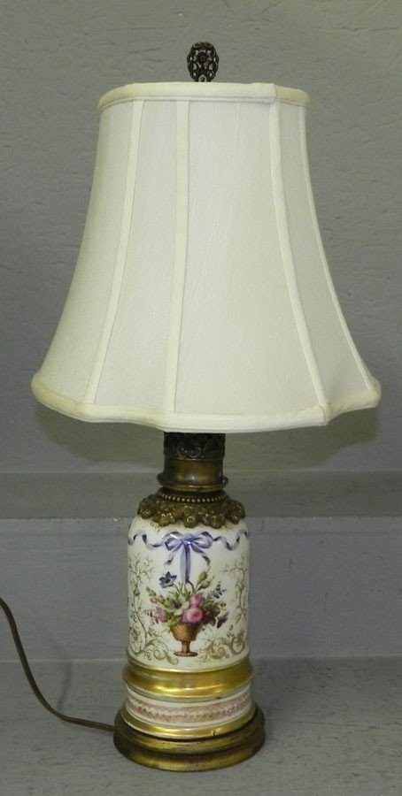 79: Early Old Paris urn converted to lamp.