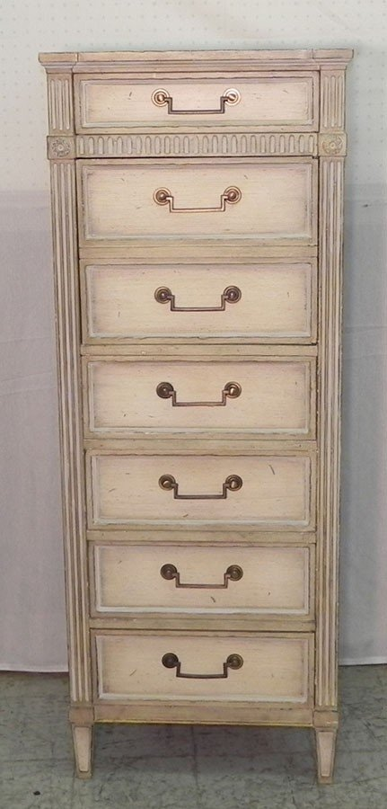 80: Seven drawer painted lingerie chest by Baker.