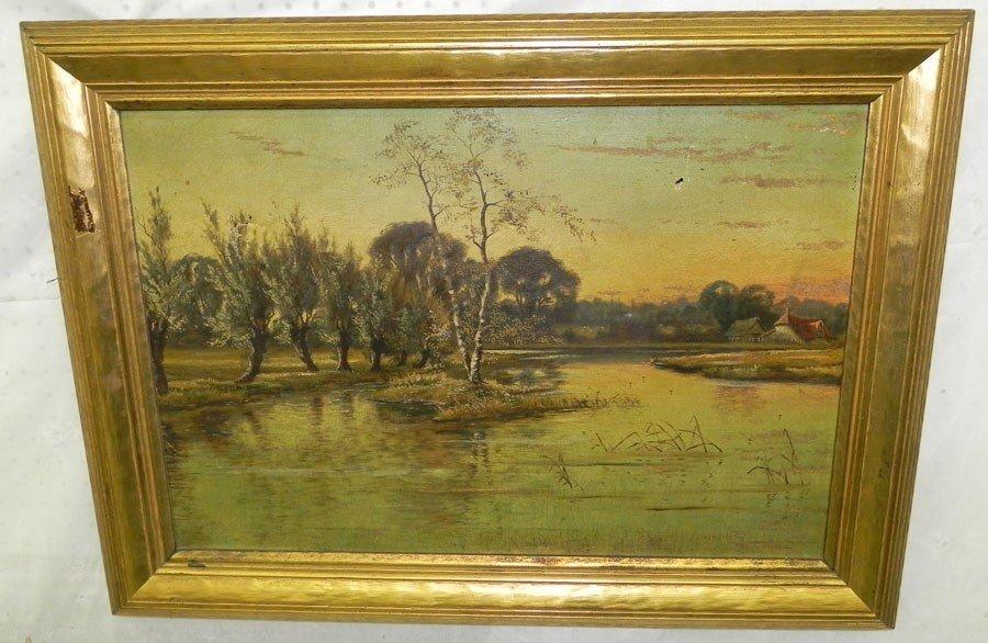 85: Gilt framed decorated oil on canvas of lake scene.