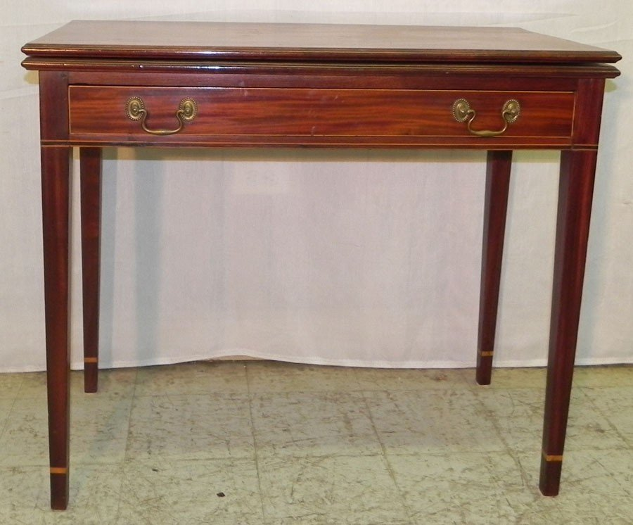 95: 19th c. inlaid mah. HW fold over game table