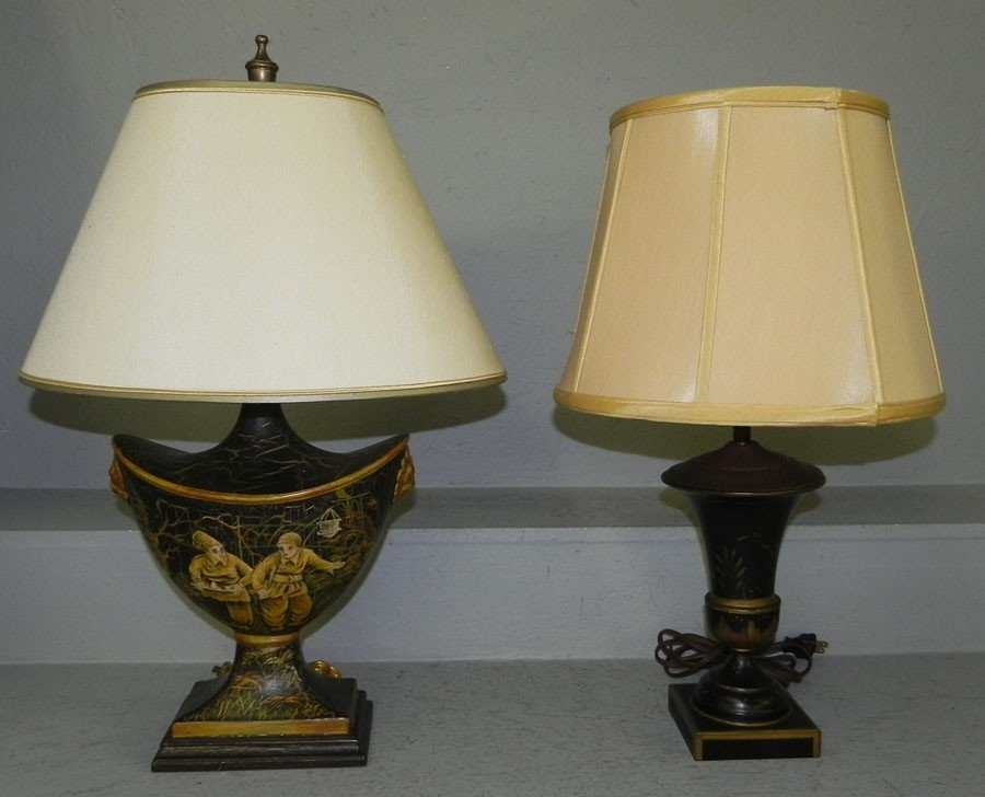 99: Two Tole decorated lamps