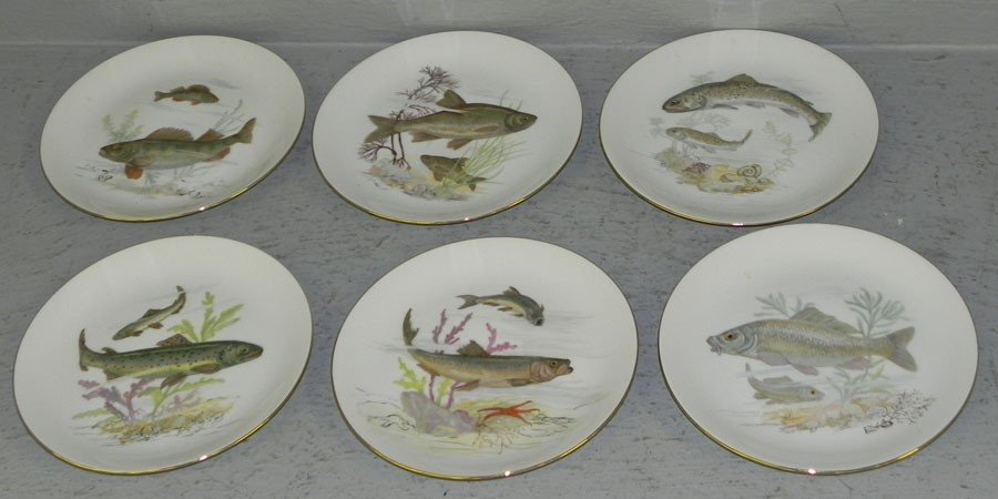 101: (6) hand painted fish plates.