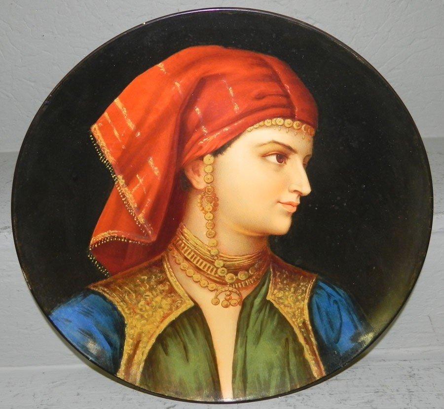 """102: Early portrait plate. 13"""" diameter"""