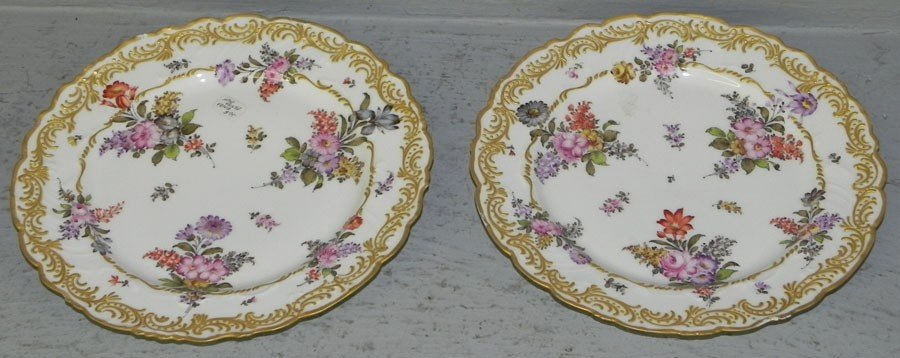 104: Pair of hand painted French plates.