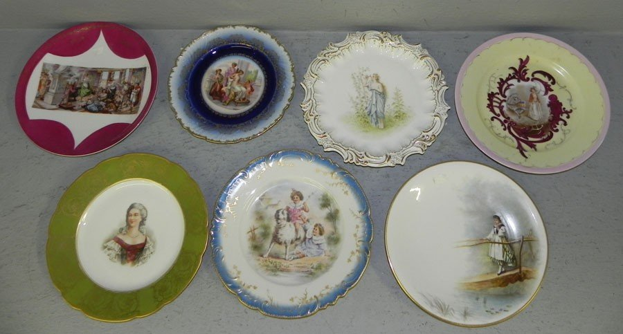 105: (7) hand painted Victorian portrait plates.