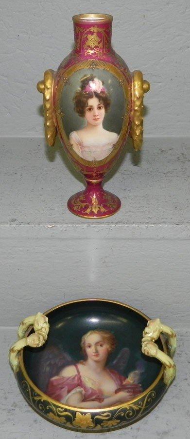 106: Portrait vase & small handled bowl w/ beehive