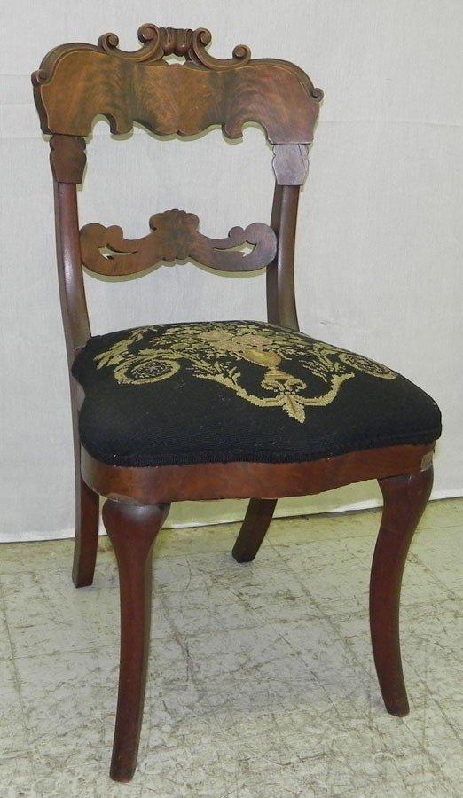 107: Needlepoint Victorian mahogany side chair.