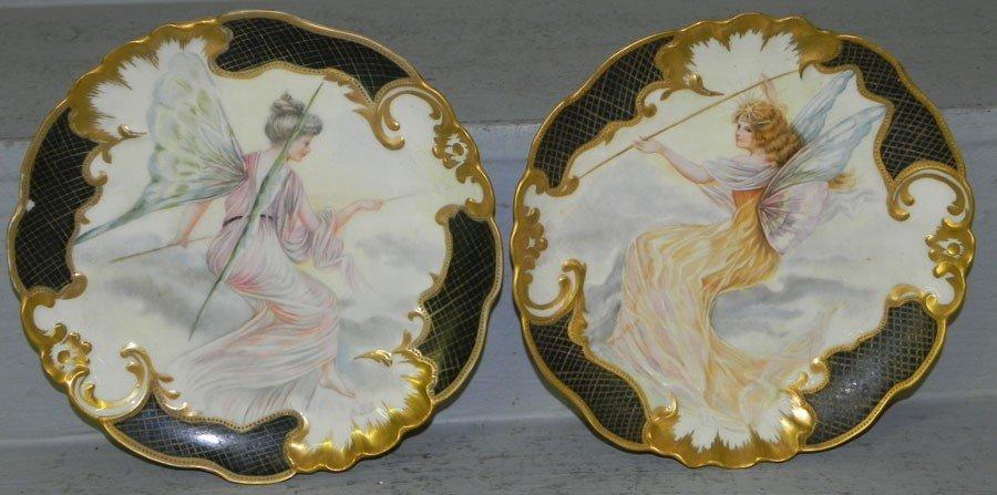 114: (2) Victorian hand painted portrait fairy plates.