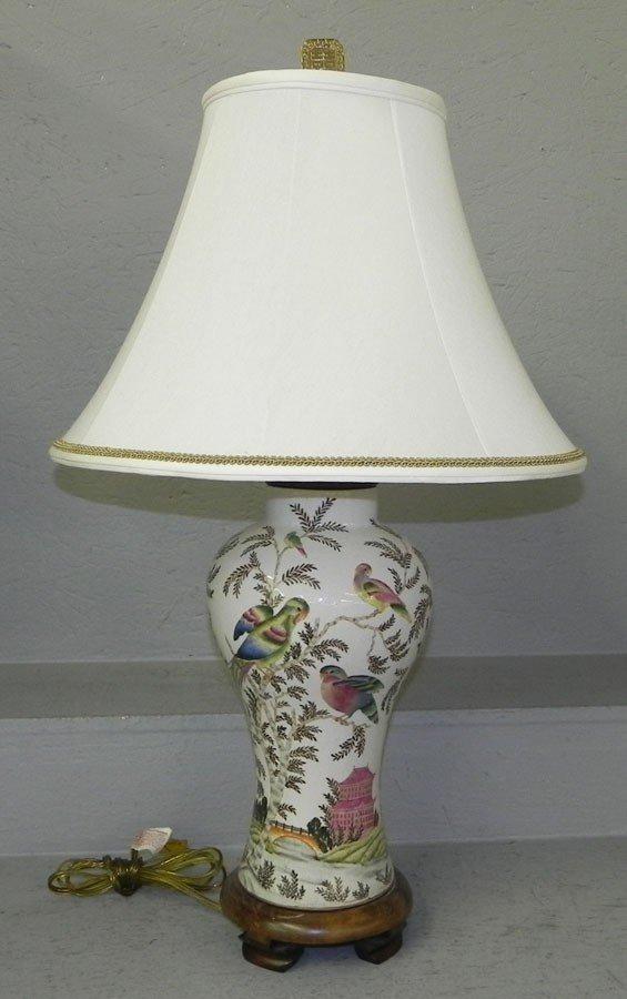 116: Oriental designed bird vase converted to lamp.