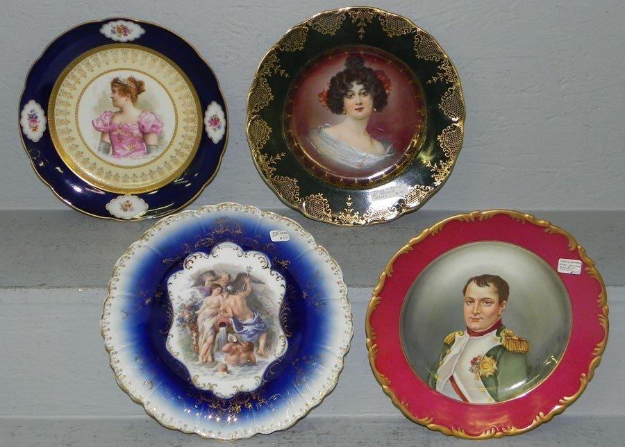 117: (4) Victorian hand painted portrait plates