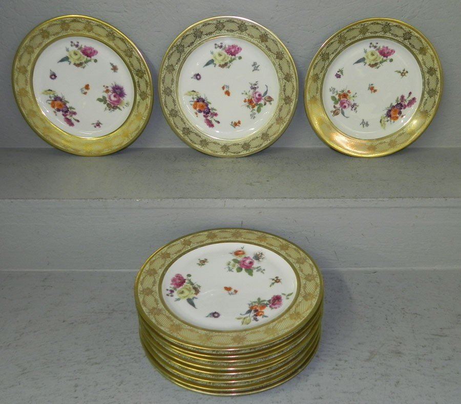 119: (11) Bavarian gold decorated hp serving plates