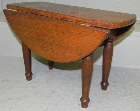 Miniature Walnut Drop Leaf Table.