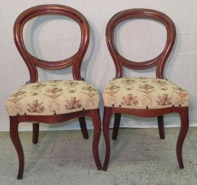 (2) Victorian Balloon Back Chairs.