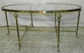 Brass And Glass Coffee Table By Lebarge.