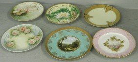 Set  Of (6) Hand Painted Victorian Plates.