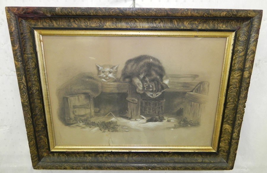 161: Framed print of cats chasing mouse