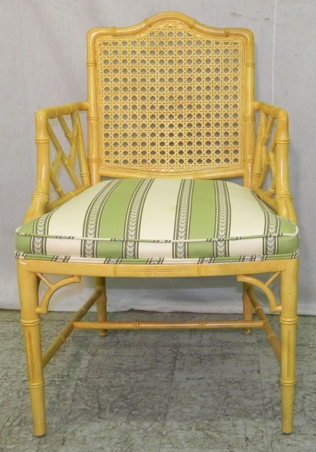 167: Bamboo turned paint decorated arm chair