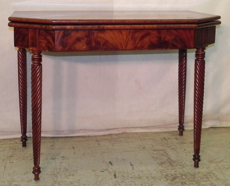 406: Regency fold over game table circa 1810.