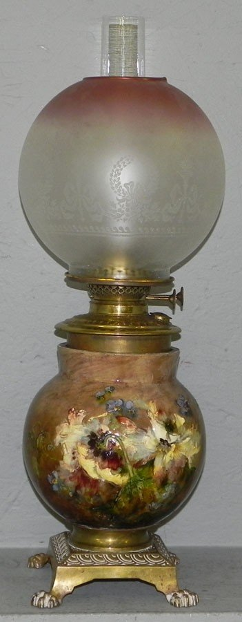 409: Majolica base lamp with brass font & satin shade.
