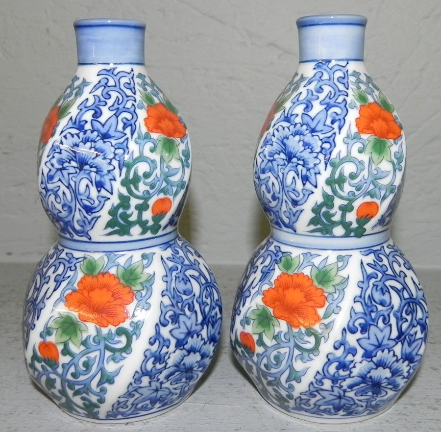 433: Pair of Oriental blue decorated gourd vases.