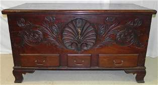 18th c mahogany carved front American bl chest.