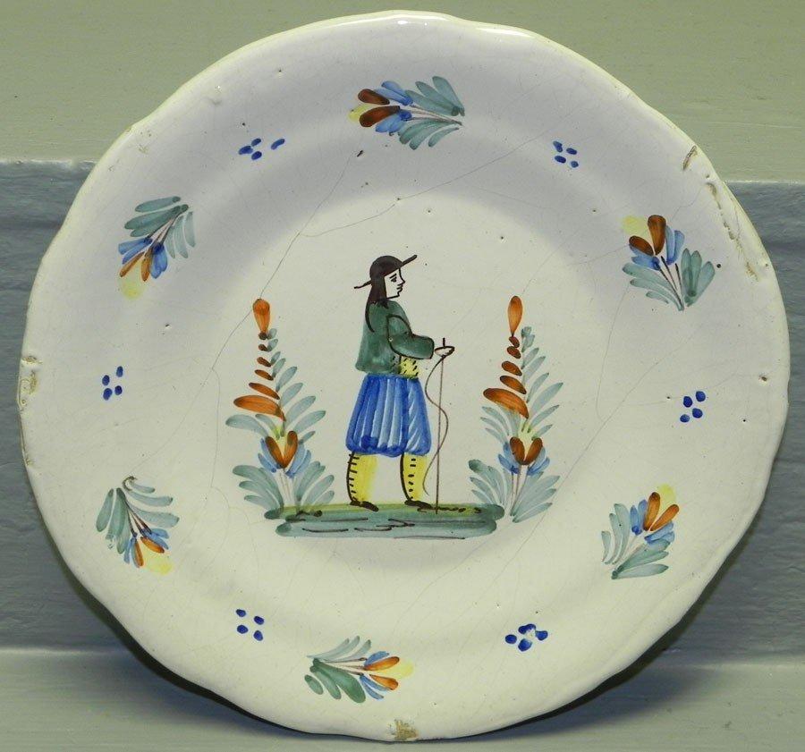 7: 19th century polychrome Delft Quimper plate.