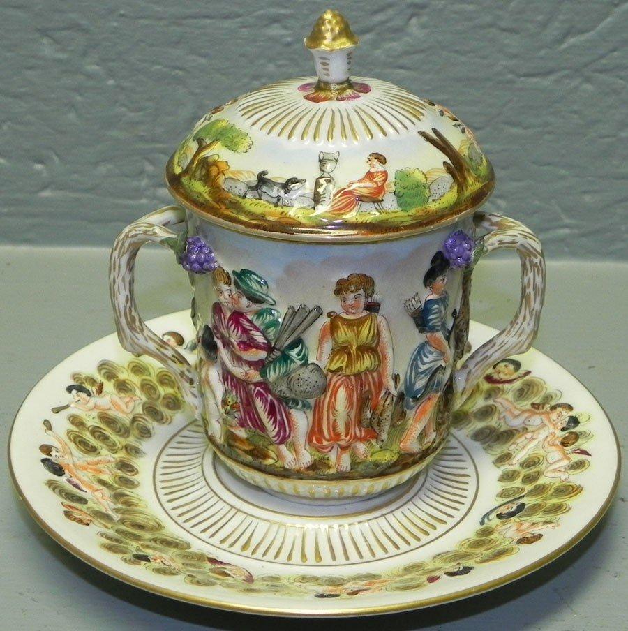 8: Capo di Monte covered 2-handle cup & underplate