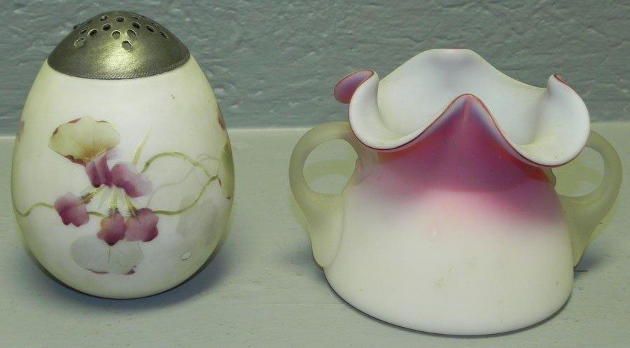 26: Satin glass vase & hp satin glass muffineer