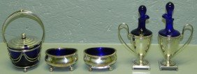 Cobalt Glass And Silver Plate Condiment Set.
