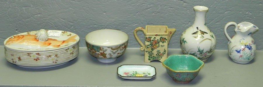 36: 6 pieces Oriental porcelain & 1piece enamel ware.