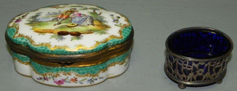 42: Sterling and cobalt master salt and porcelain box.