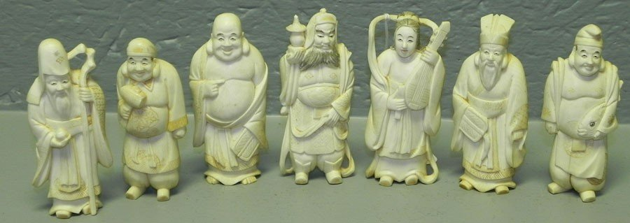 46: Carved ivory Seven Immortals figurines.