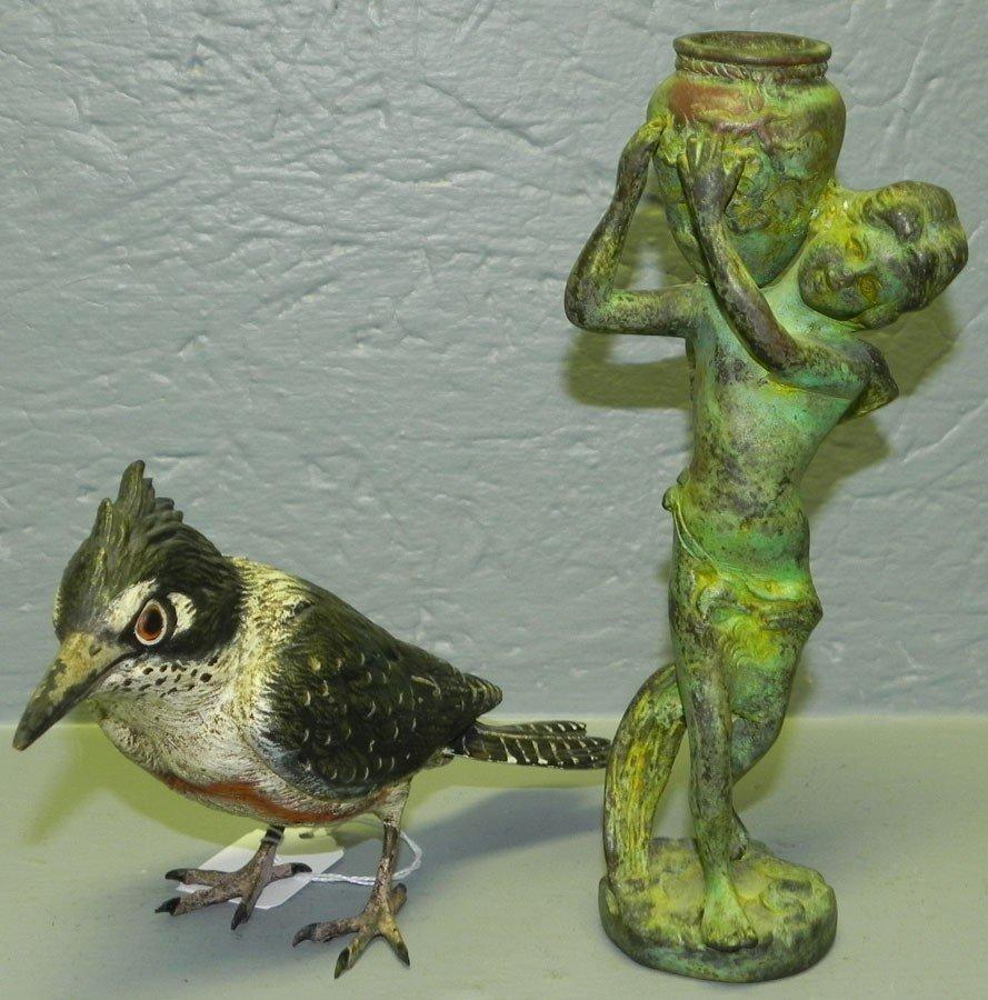47: Bronze cherub figurine & cast bronze hp bird.