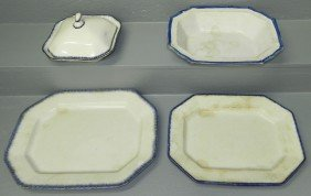 2 Feather Edge Platters, Covered Dish &  Bowl.