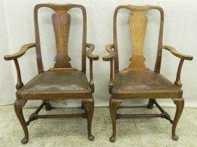 2 English Oak Stretcher Base Arm Chairs.