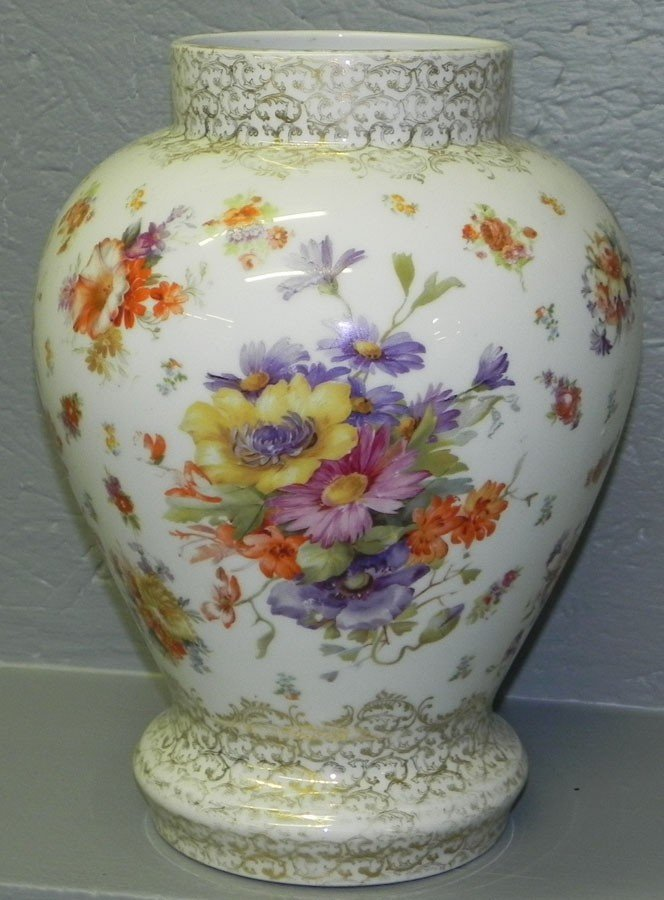 96: Hand painted Dresden type portrait vase.