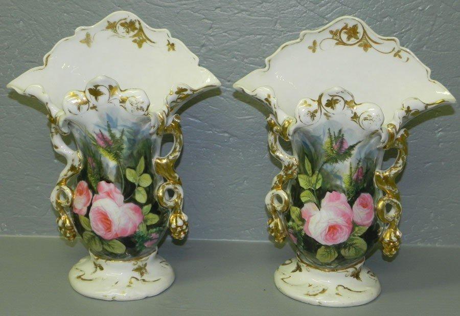 102: Pair of hand painted Old Paris vases.