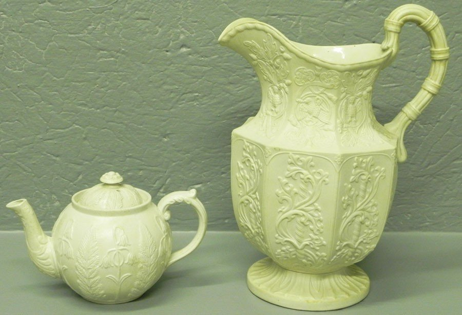 109: Salt glazed tea pot and pitcher.