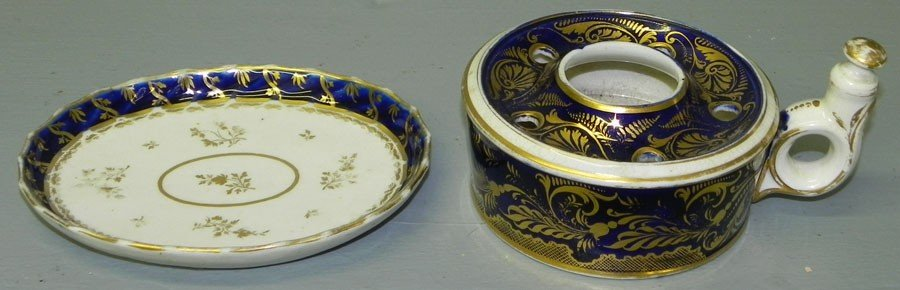 116: 19th c Royal Crown Derby ink well & small platter.