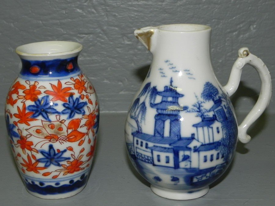 118: Mini. Imari vase & 18th c Canton cream pitcher.