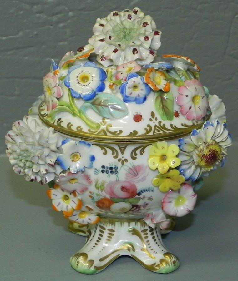 119: Dresden Flower group covered jar.
