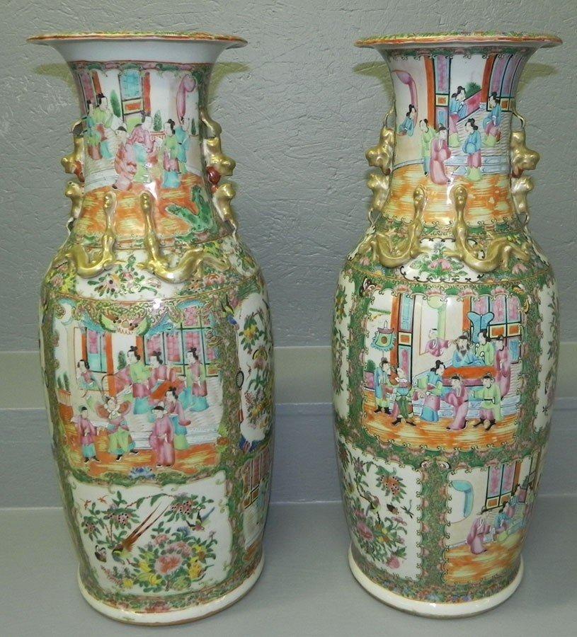 125: Pair of 19th century Rose Mandarin palace vases.