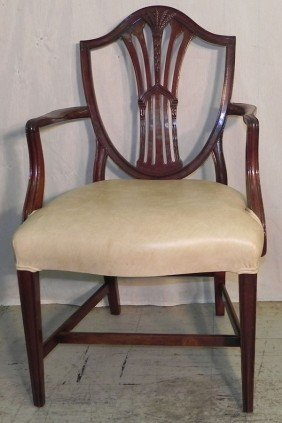 Wheat Carved Shield Back Hepplewhite Arm Chair.