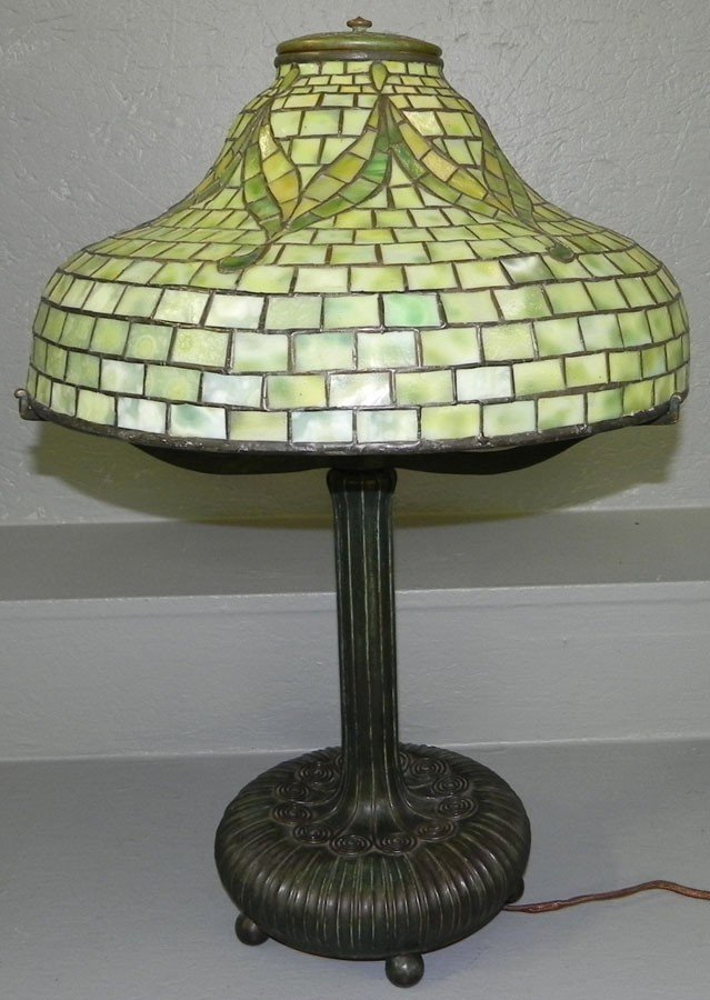 360: Signed Tiffany Studios, NY Stained gl. & br. lamp.