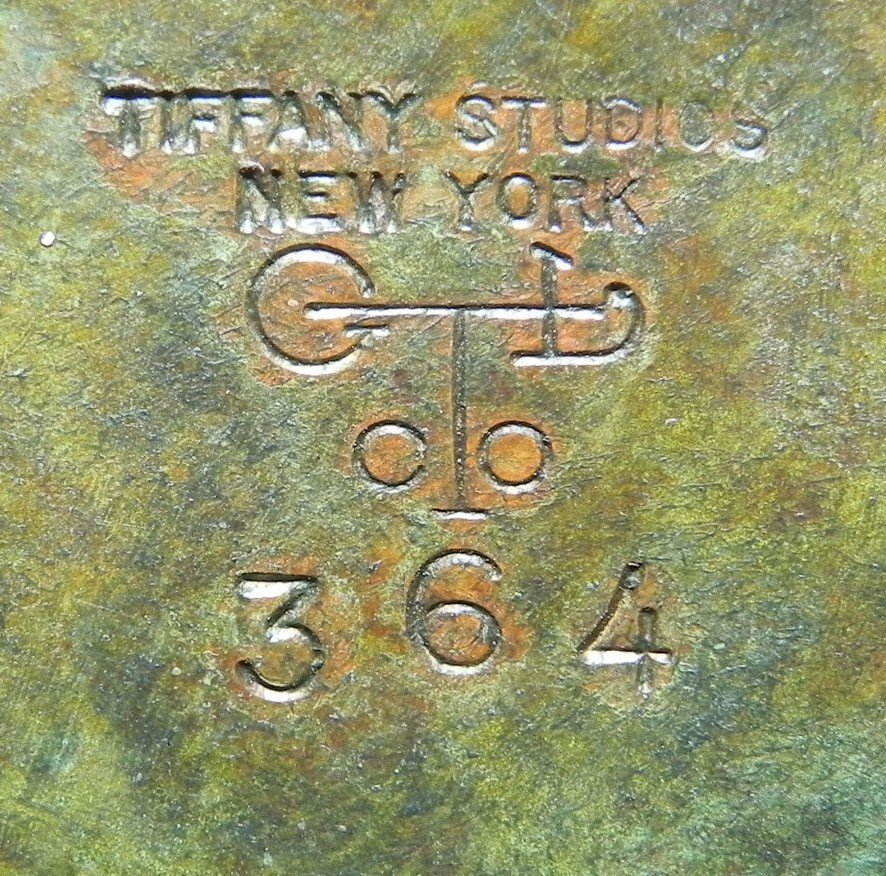 360: Signed Tiffany Studios, NY Stained gl. & br. lamp. - 5